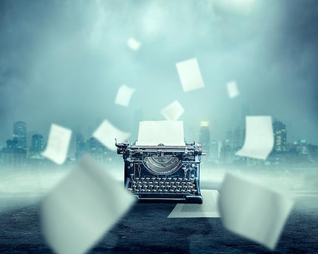 Máquina de escrever vintage com a folha de papel inserida, paisagem urbana nebulosa e rio escuro