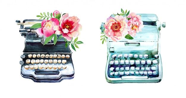 Máquina de escrever vintage em aquarela com desenhos de flores. ilustração retro da máquina do tipo. suprimentos para escritores.