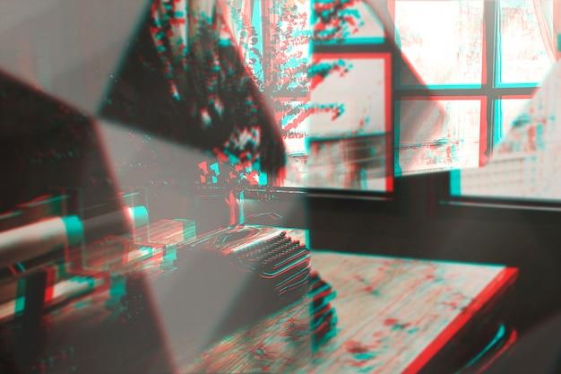 Máquina de escrever vitnage com efeito de lente de prisma