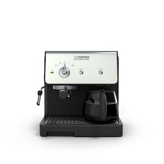 Máquina de fazer café expresso elegante com duas xícaras de café, isolada no fundo branco