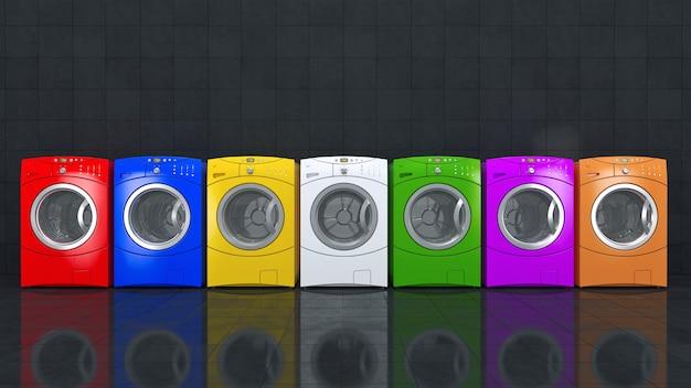 Máquina de lavar cores renderização em 3d