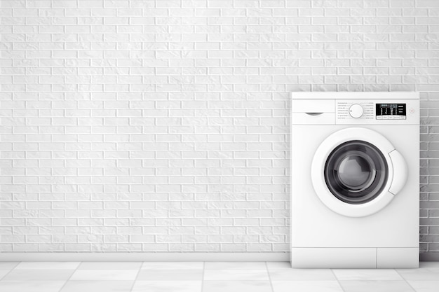 Máquina de lavar moderna na frente da parede de tijolos. renderização 3d