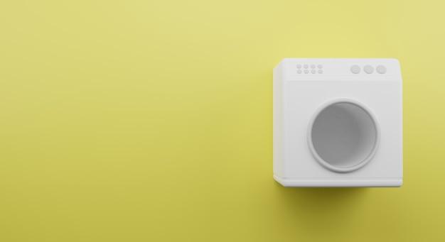 Máquina de lavar roupa 3d render com fundo amarelo, bom para promoção de banner em mídia social
