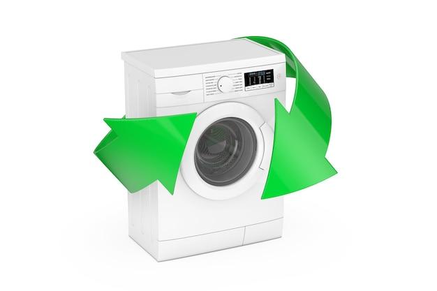 Máquina de lavar roupa branca moderna com setas verdes sobre um fundo branco. renderização 3d