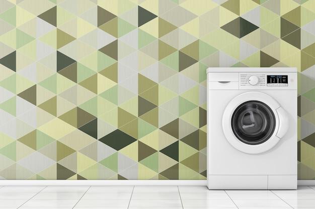 Máquina de lavar roupa branca moderna na frente closeup extrema de telhas geométricas de verde oliva. renderização 3d
