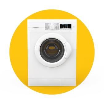 Máquina de lavar roupa branca moderna sobre um fundo branco e amarelo. renderização 3d