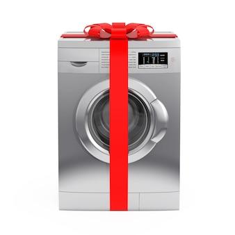 Máquina de lavar roupa de prata moderna com fita vermelha e arco como presente em um fundo branco. renderização 3d.