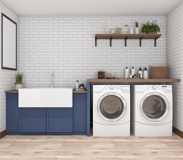 Máquina de lavar roupa de renderização 3d na lavanderia vintage