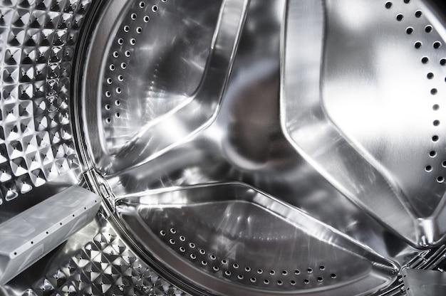 Máquina de lavar roupa de tambor, close-up.