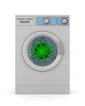 Máquina de lavar roupa e vírus em branco. ilustração 3d isolada