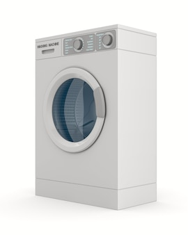 Máquina de lavar roupa isolada no branco. ilustração 3d