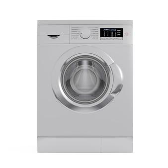 Máquina de lavar roupa metálica moderna em um fundo branco. renderização 3d.