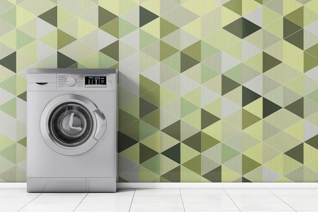 Máquina de lavar roupa metálica moderna na frente closeup extrema de telhas geométricas de verde oliva. renderização 3d