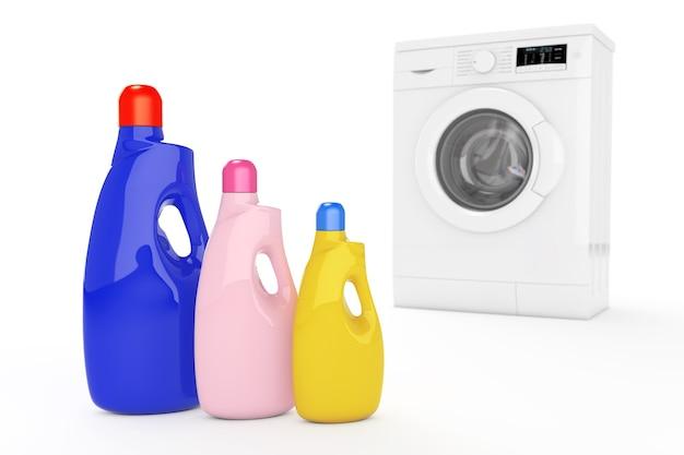 Máquina de lavar roupa moderna com frascos de detergente de cor em um fundo branco. renderização 3d