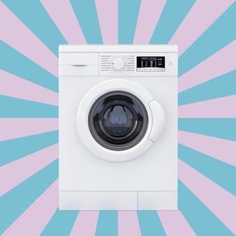Máquina de lavar roupa moderna em um fundo rosa e azul vintage da forma de estrela. renderização 3d