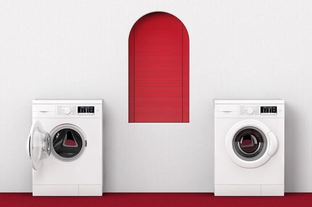 Máquina de lavar roupa moderna perto de janela vermelha closeup extrema. renderização 3d