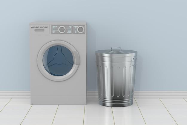 Máquina de lavar roupa no banheiro. ilustração 3d