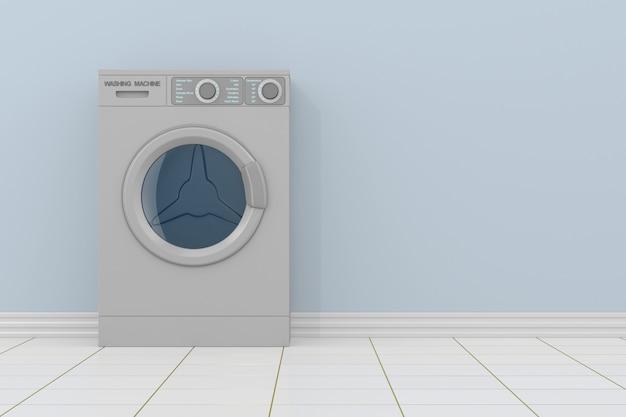 Máquina de lavar roupa no banheiro. ilustração 3d Foto Premium