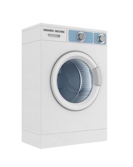 Máquina de lavar roupa no espaço em branco. ilustração 3d isolada