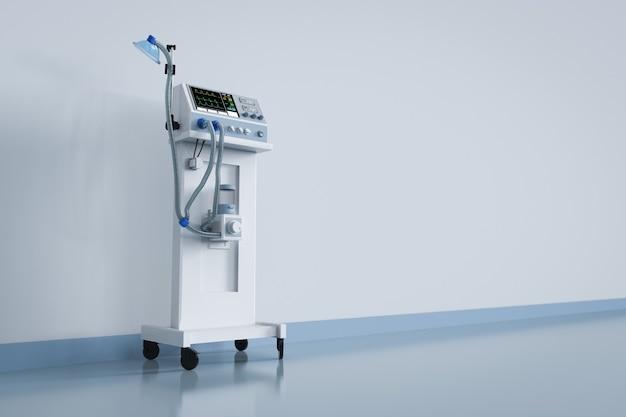 Máquina de ventilação médica de renderização 3d em hospital