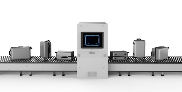 Máquina digitalizadora de renderização 3d está digitalizando bagagem no aeroporto