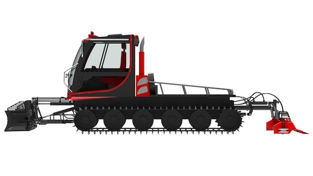 Máquina para limpar as pistas de esqui em um fundo branco e isolado. renderização 3d.