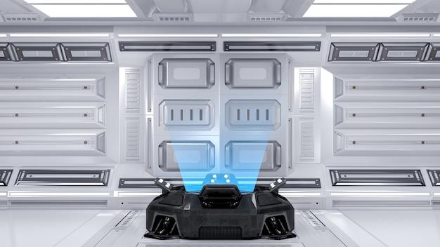Máquina projetor de holograma azul em branco na sala futurista de ficção científica para simulação de renderização em 3d