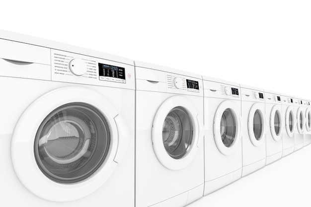 Máquinas de lavar modernas em linha em um fundo branco. renderização 3d