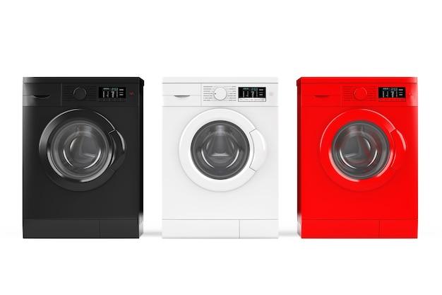 Máquinas de lavar modernas multicoloridas em um fundo branco. renderização 3d