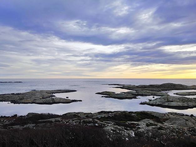 Mar cercado por rochas cobertas de galhos sob um céu nublado durante o pôr do sol na noruega