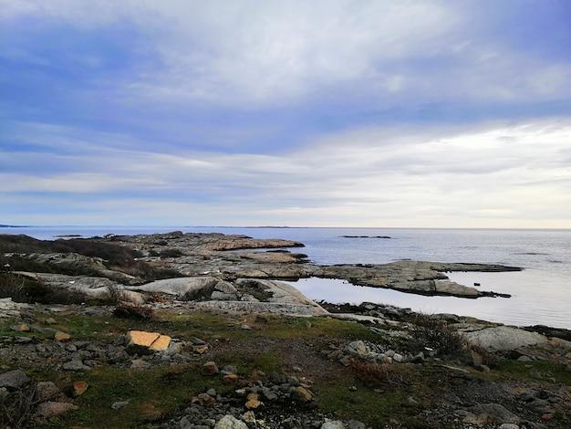 Mar cercado por rochas cobertas de galhos sob um céu nublado