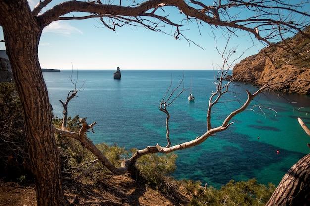 Mar cercado por rochas e vegetação sob o sol em ibiza