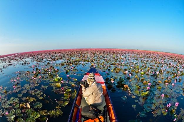 Mar de lótus vermelho ao nascer do sol luz do sol com lindo céu em udon thanithailand conceito de lago lotus