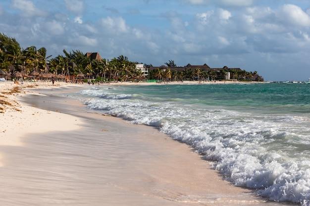 Mar do caribe, rivera maya praia de areia branca