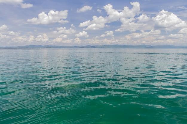 Mar e céu azul com nuvens