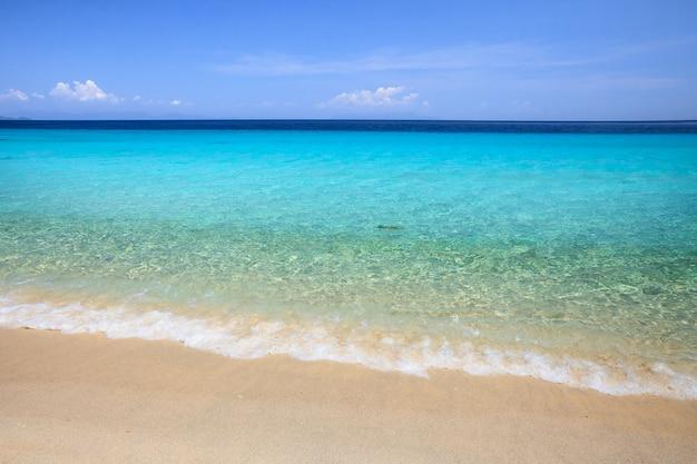 Mar e praia azul cristalino