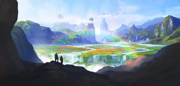 Maravilhas naturais, paraíso, ilustração.