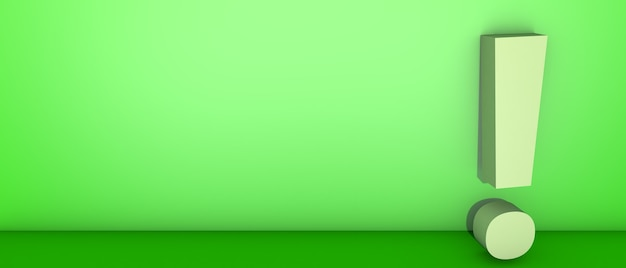 Marca de exclamação em verde. ilustração 3d