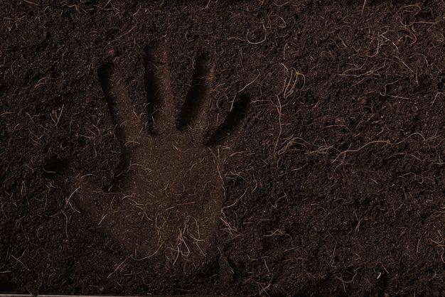 Marca de mão em terra preta