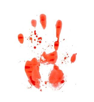 Marca de mão vermelha e sangrenta em um fundo branco