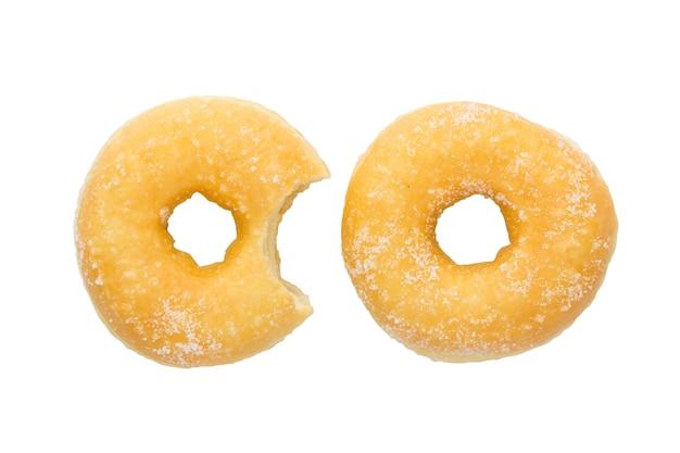 Marca de mordida no donut caseiro com traçado de recorte