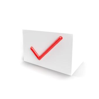 Marca de seleção vermelha. símbolo de marca de seleção na caixa branca para interfaces da web e de software. isolado. ícone de marca de seleção. renderização tridimensional, renderização em 3d.