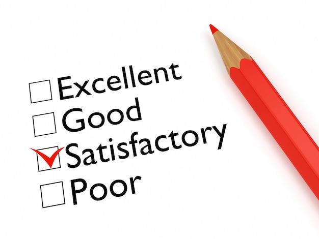 Marca satisfatória: formulário de avaliação e lápis