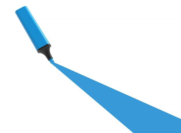 Marcador azul com sublinhado