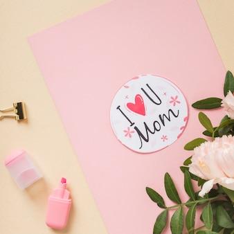 Marcador e cartão adorável do dia das mães