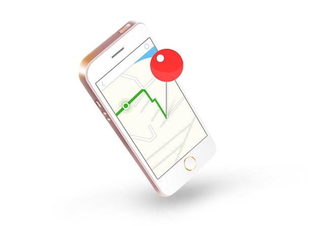 Marcador no ícone web do mapa na tela do telefone