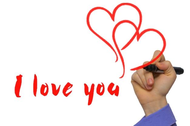 Marcador vermelho com o texto eu te amo e dois corações