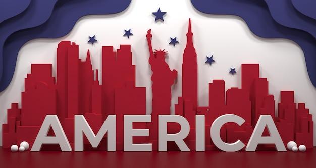 Marco da cidade de nova york, américa por feriados e cartaz de viagens, na ilustração 3d.