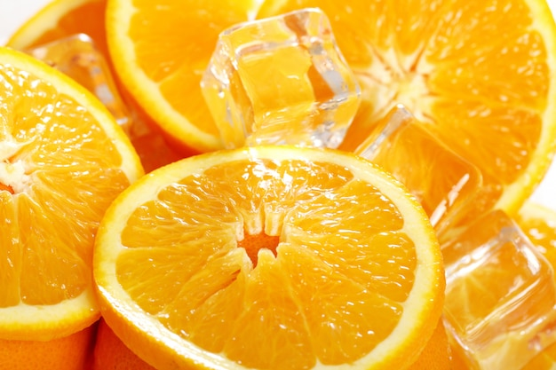 Marco de laranjas frescas