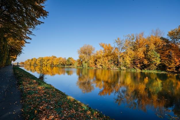 Margem do rio no outono com árvores coloridas